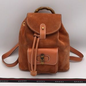 Authentic Gucci Suede & Leather Bamboo Backpack 🧡